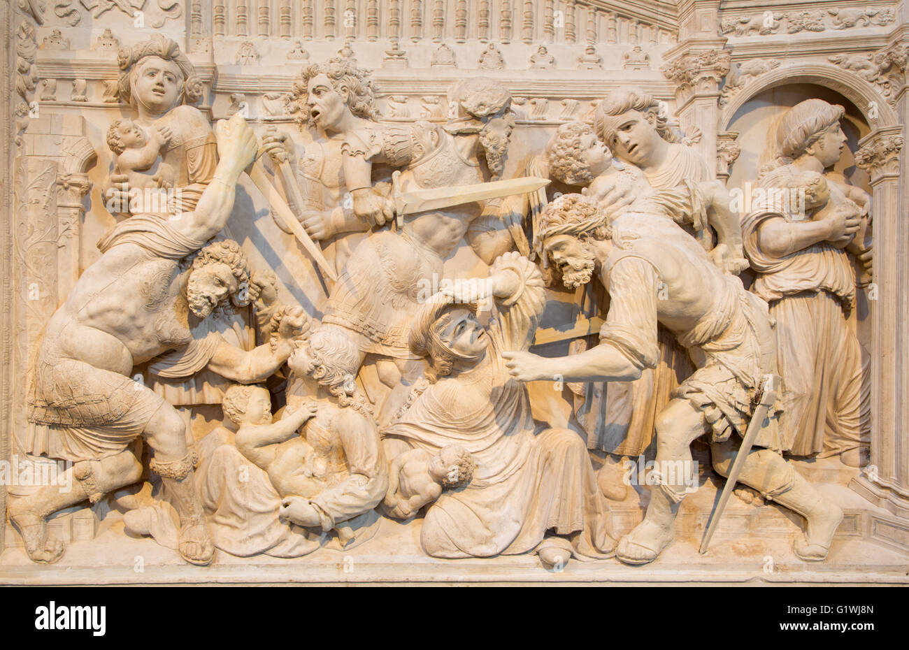 AVILA, SPAIN, APRIL - 18, 2016: The relief of Massacre of the Innocents, by Juan Rodriguez and Lucas Giraldo - Stock Image