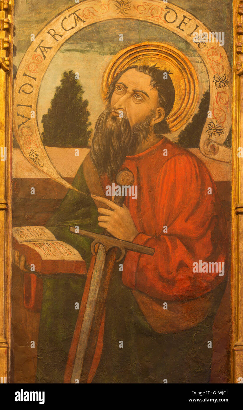 AVILA, SPAIN, APRIL - 18, 2016: The St. Paul painting on the wood in Catedral de Cristo Salvador by unknown artist - Stock Image