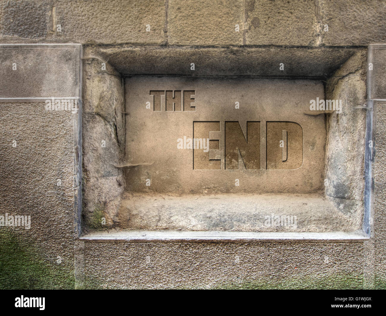 The end. Plaque. - Stock Image
