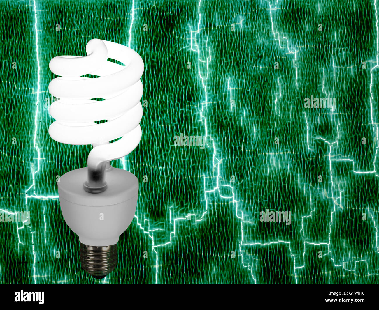 New style light bulb on abstract background. Green energy. - Stock Image