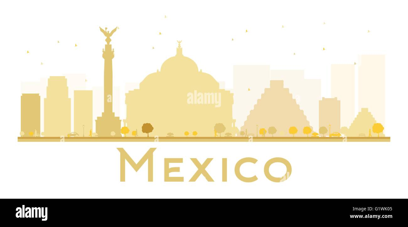 Mexico City Skyline Golden Silhouette. Vector Illustration