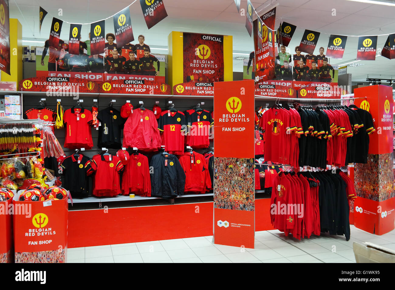 Fan shop department of 'The Red Devils', The Belgian national football team for Euro 2016, in a Carrefour - Stock Image