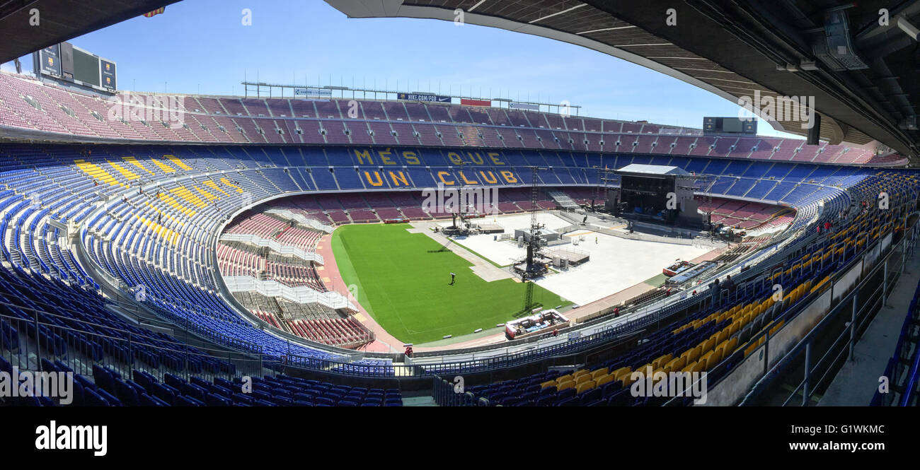 Nou Camp Football Stadium in Barcelona Spain before a rock concert by Bruce Spingsteen. - Stock Image