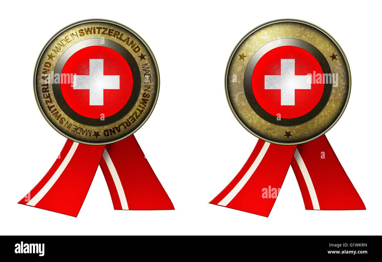 Decoration or metallic gold seal with tape to distinguish original products from Switzerland. Set of 2 seals Made - Stock Image
