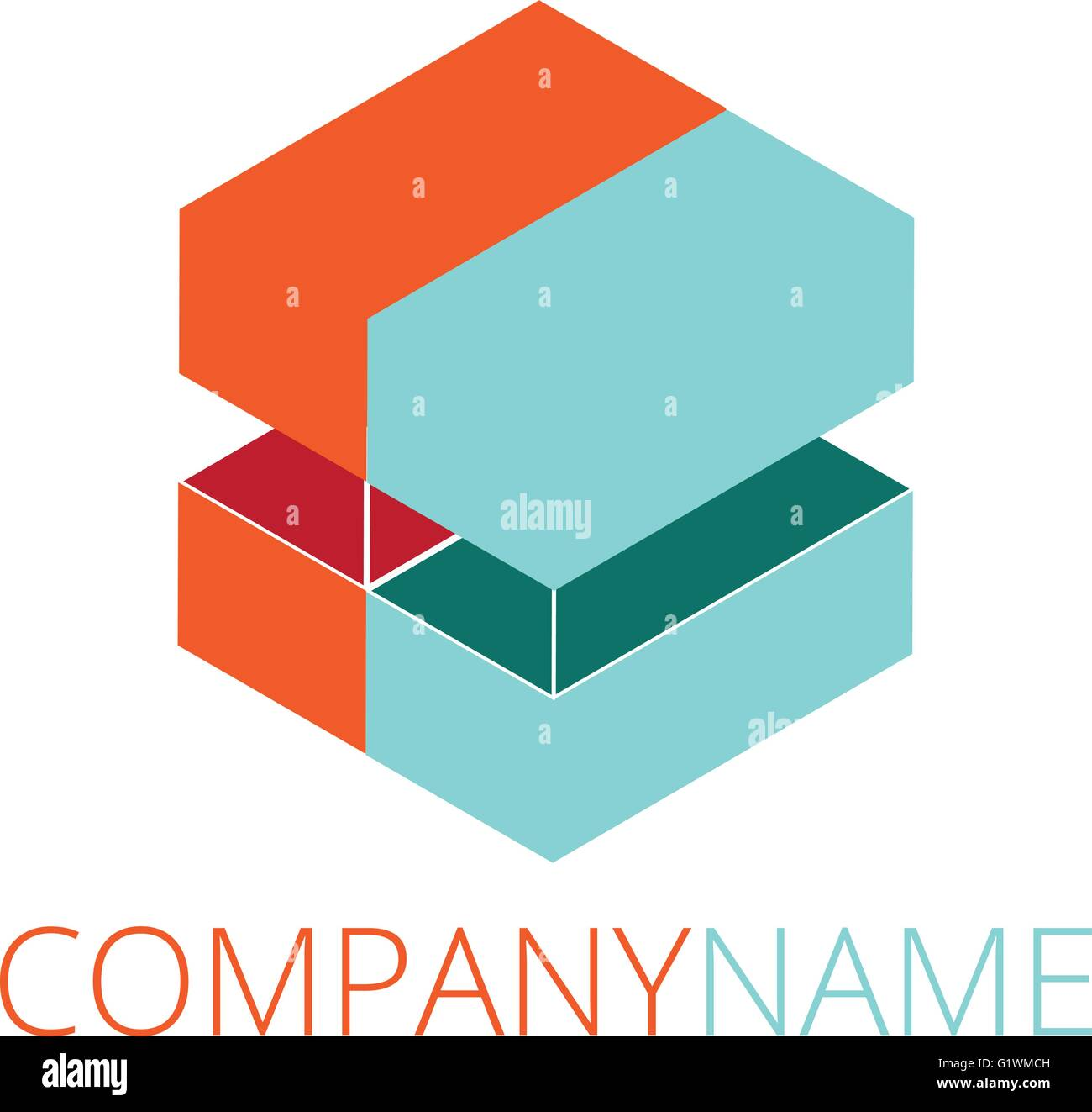 Modern abstract logo design, business icon. Geometric emblem Stock Vector