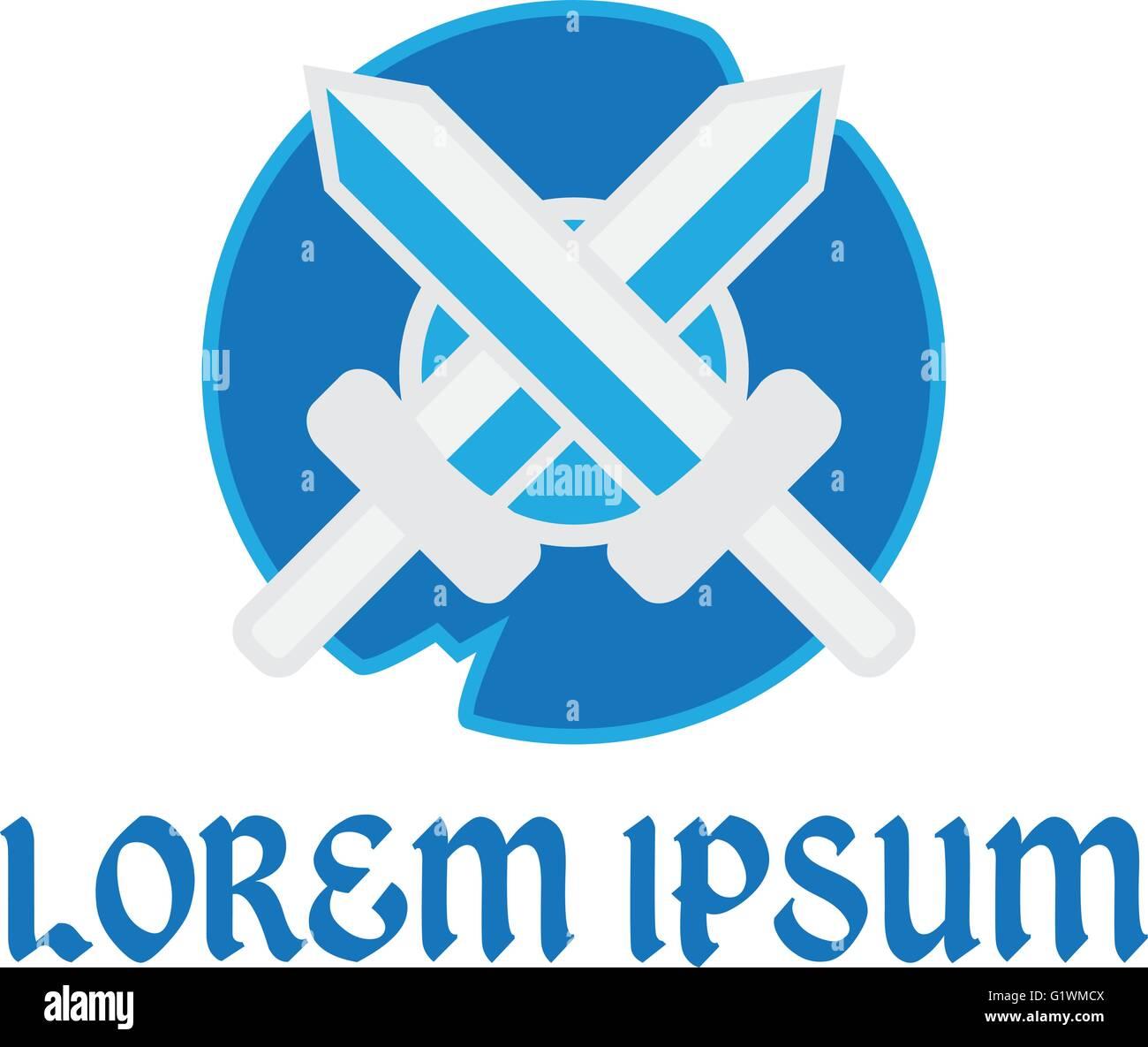 Retro sword and shield logo template logo vector design, company ...
