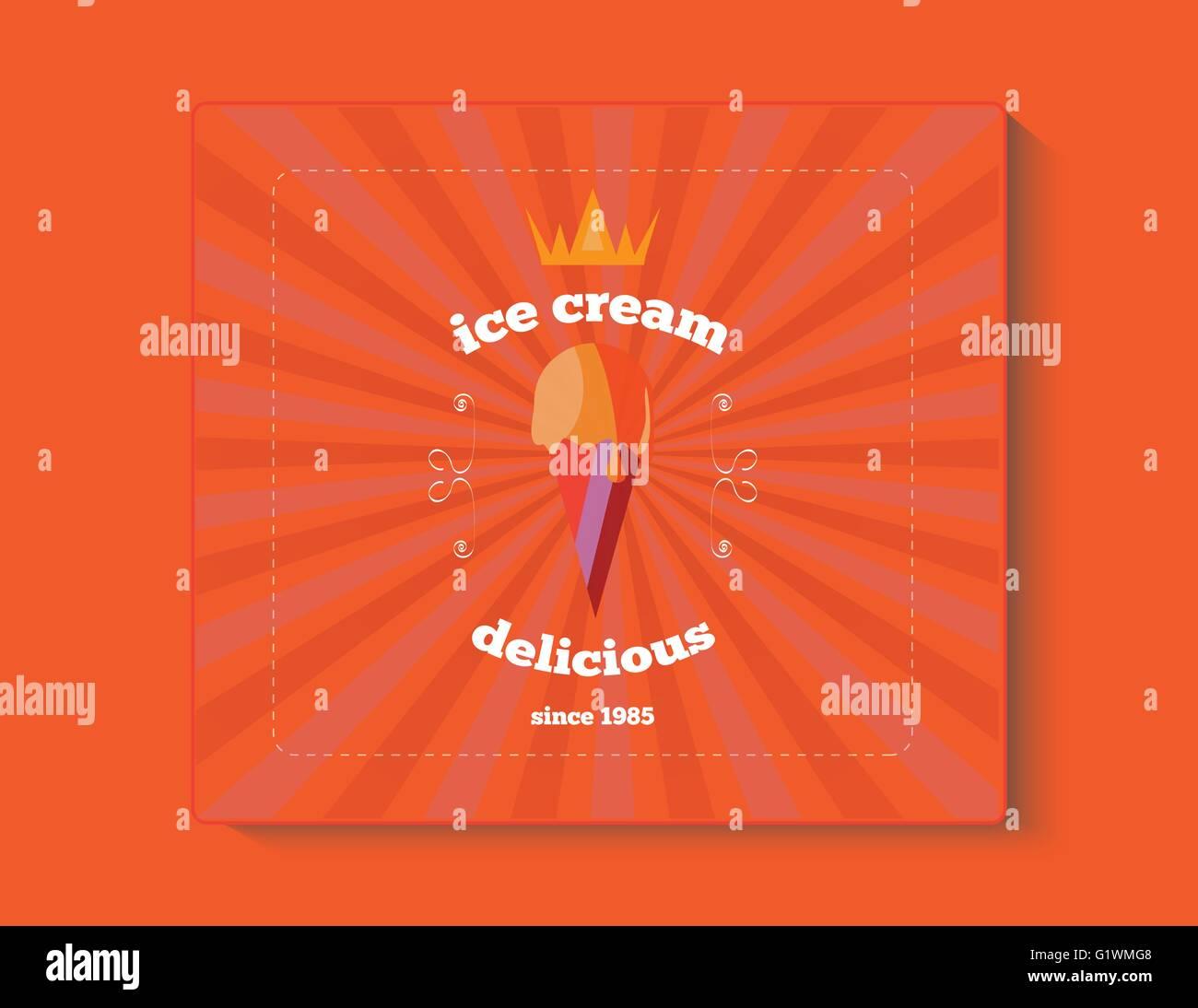 Vintage ice cream sundae poster banner Stock Vector