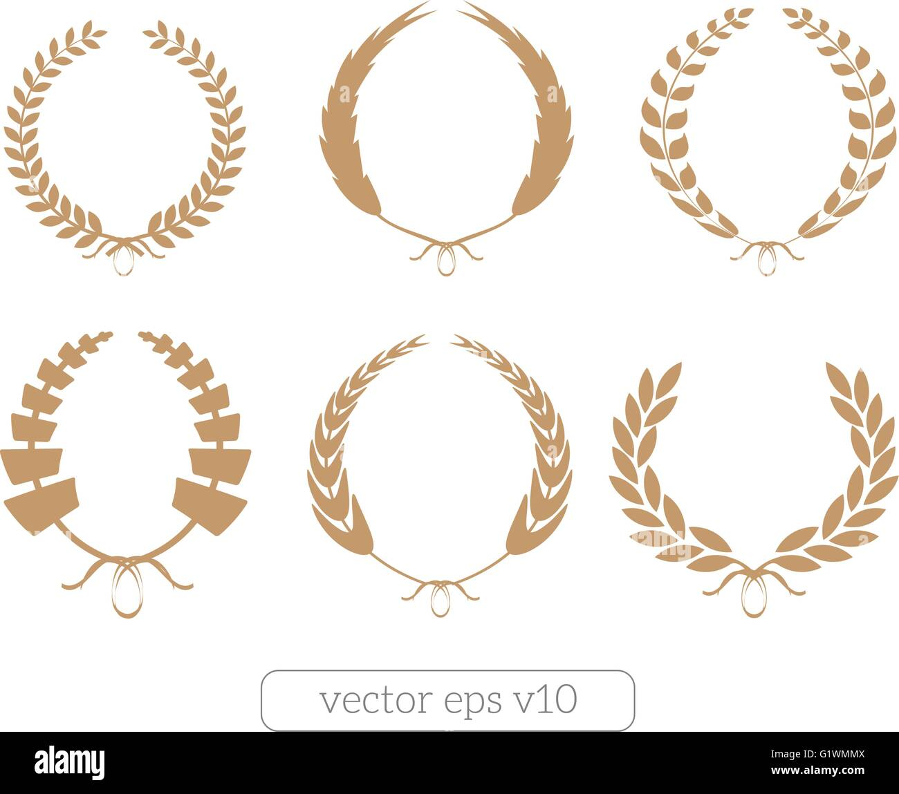 Gold Laurel Wreaths Vector Collection