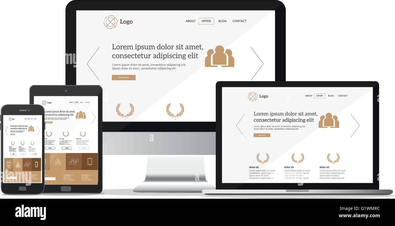 modern web design concept flat vector illustration mock up stock
