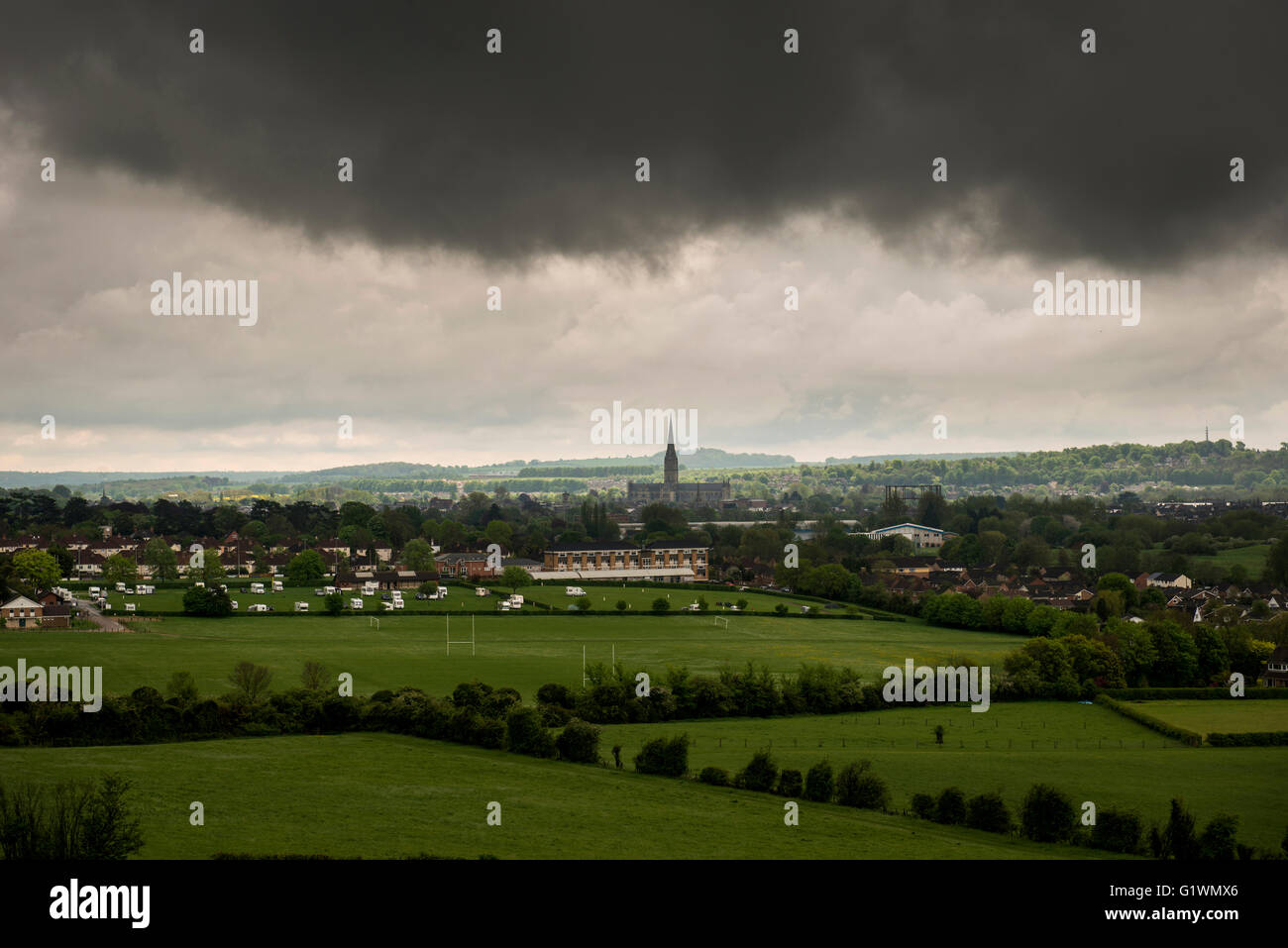 View of the Cathedral and City of Salisbury from Old Sarum, Wiltshire, UK Stock Photo
