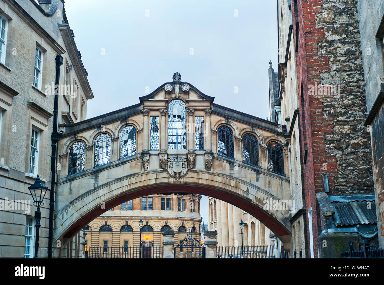 Bridge of Sighs from New College Lane Oxford England, Stock Photo