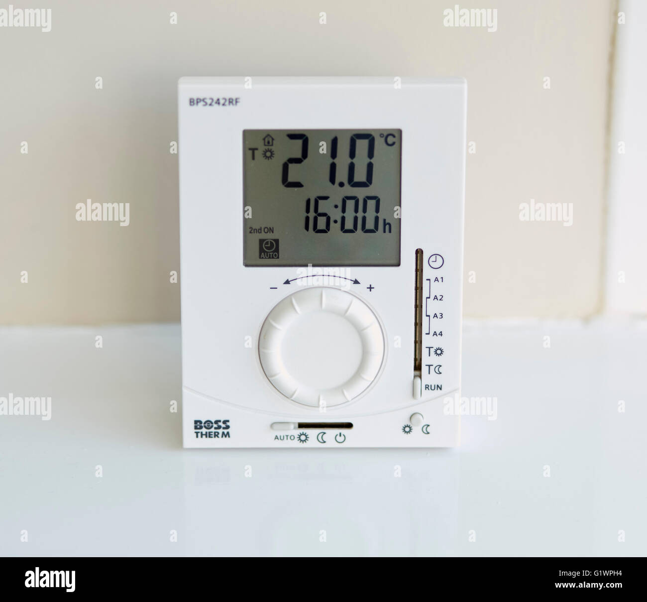 Heating thermostat control panel - Stock Image