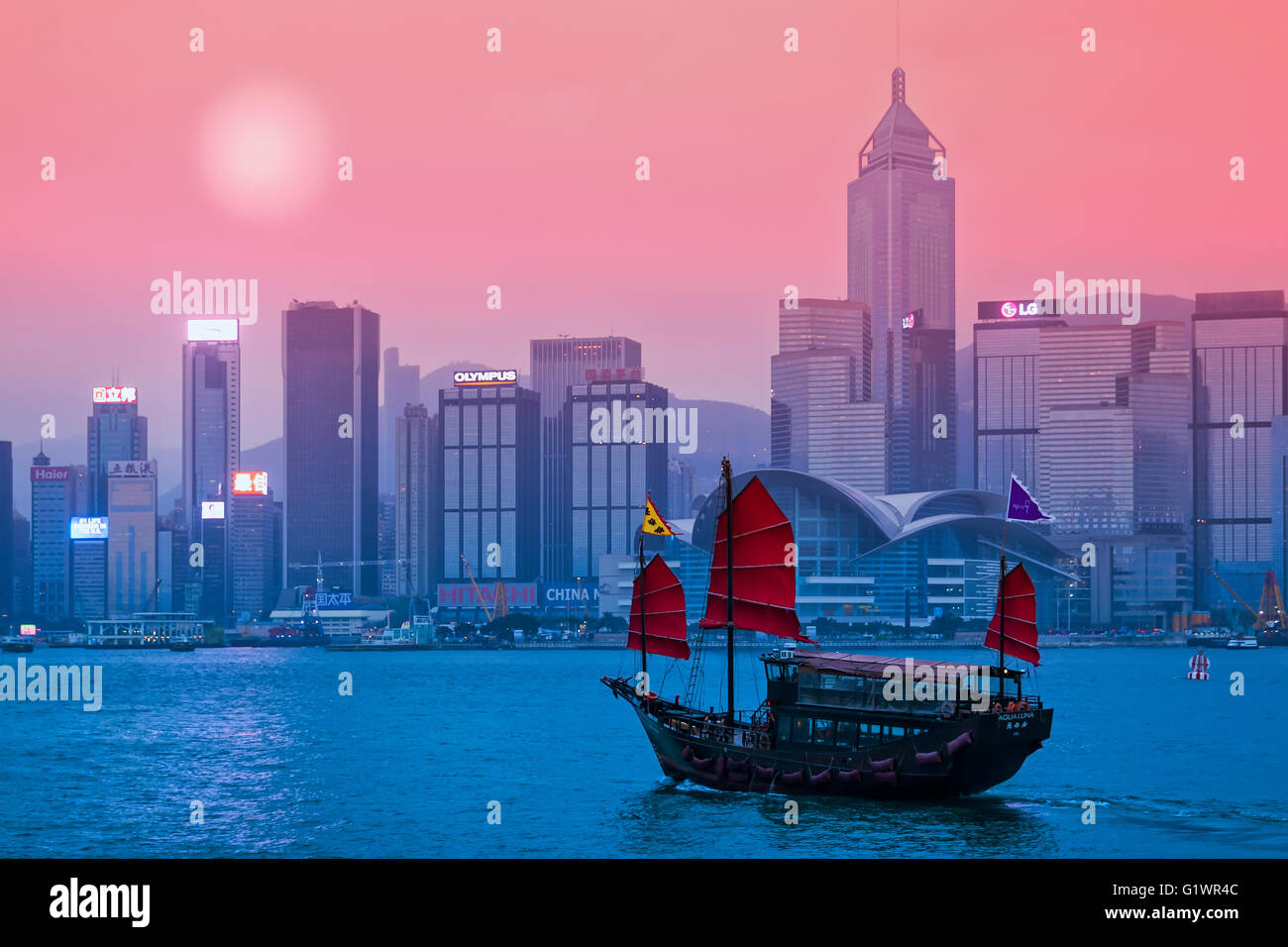Junk Ship in Victoria Harbor in Hong Kong - Stock Image