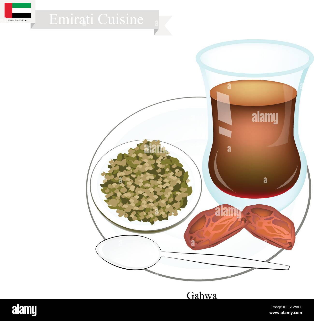 Emirati Cuisine, Gahwa Coffee or Coffee Brewed from Dark Roast Coffee Beans Spiced with Cardamom. One of The Popular - Stock Vector