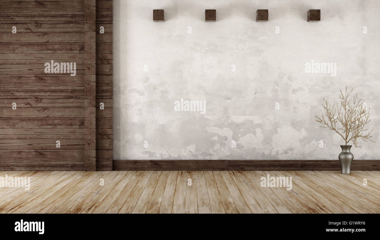 Empty Room In Rustic Style With Old Wooden Paneling