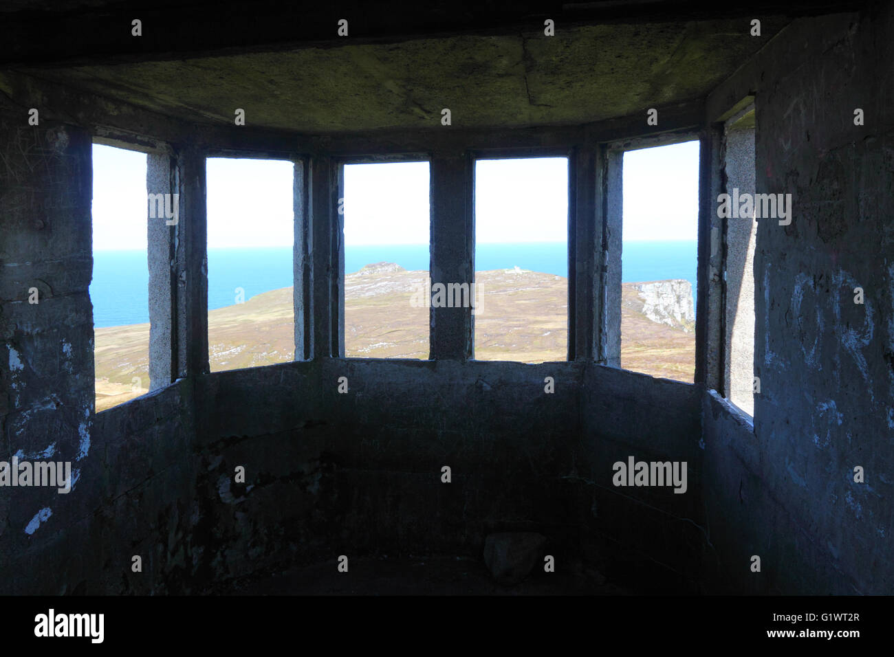 The view from a WW2 lookout post (LOP) at Horn Head, north Donegal, Ireland. - Stock Image