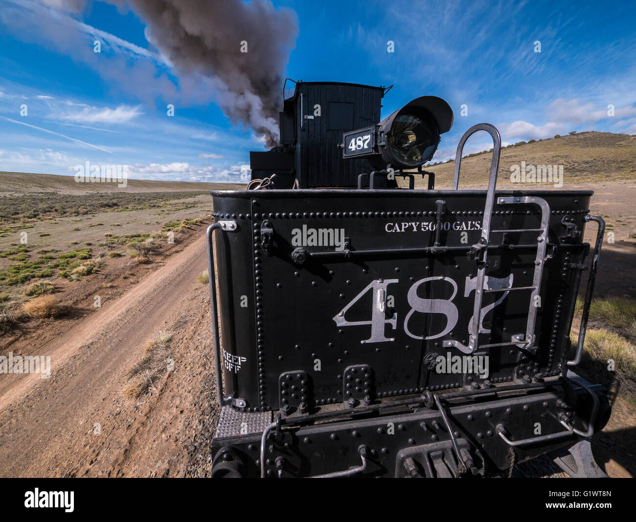 Locomotive 487 runs the tracks west from Antonito, Cumbres & Toltec Scenic Railroad between Chama, New Mexico - Stock Image