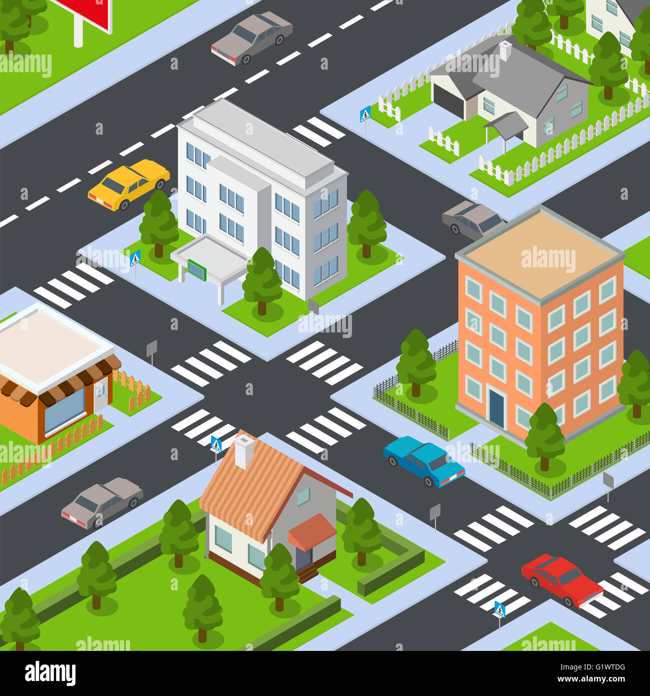 Big isometric set of buildings and houses - Stock Image