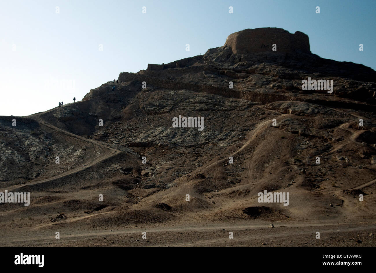Known as towers of silence Zoroastrian burial sites (no longer used) are distinctive on the outskirts of Yadz in - Stock Image