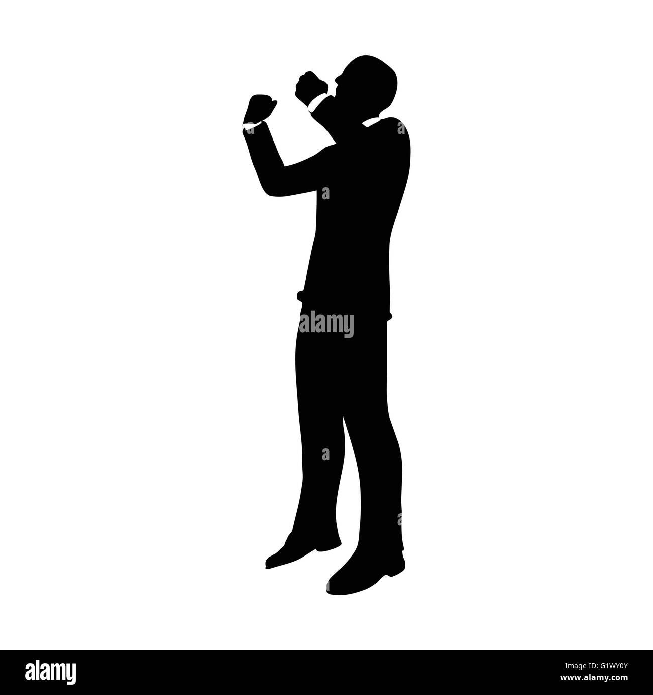 vector image businessman silhouette in gorilla pose isolated on