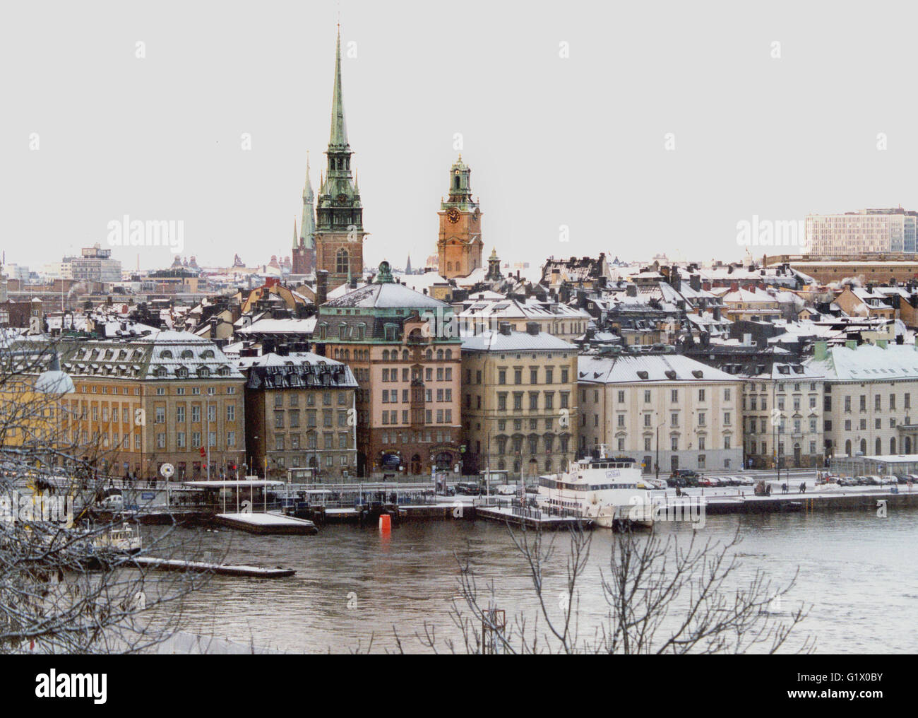 OLD TOWN with churches on a cold winter day - Stock Image