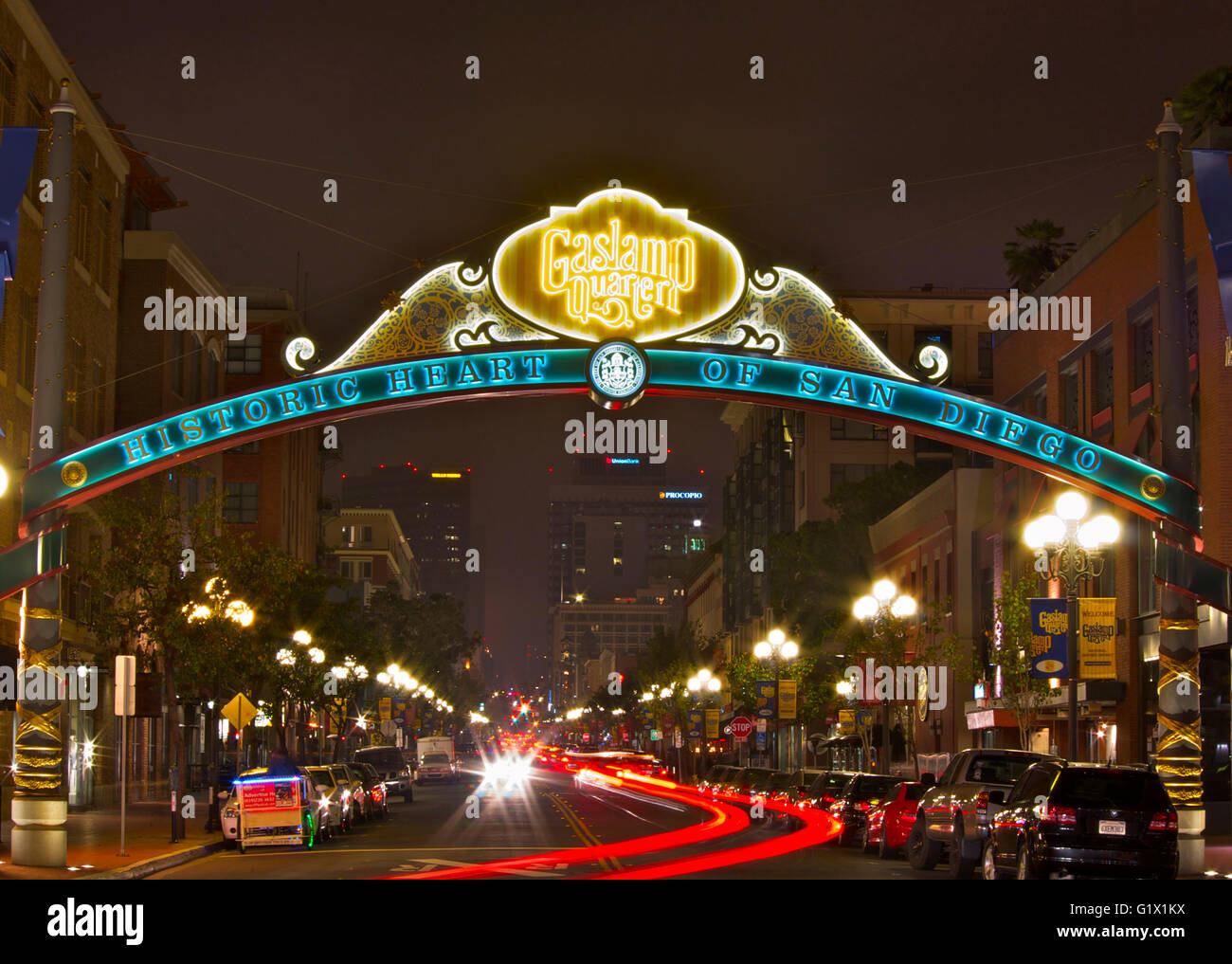 Beautiful Night Photo Of The Gaslamp Quarter In San Diego With Light Trails   Stock  Image Good Ideas