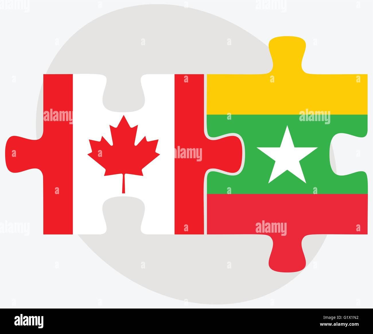 Canada and Myanmar Flags in puzzle isolated on white background - Stock Vector
