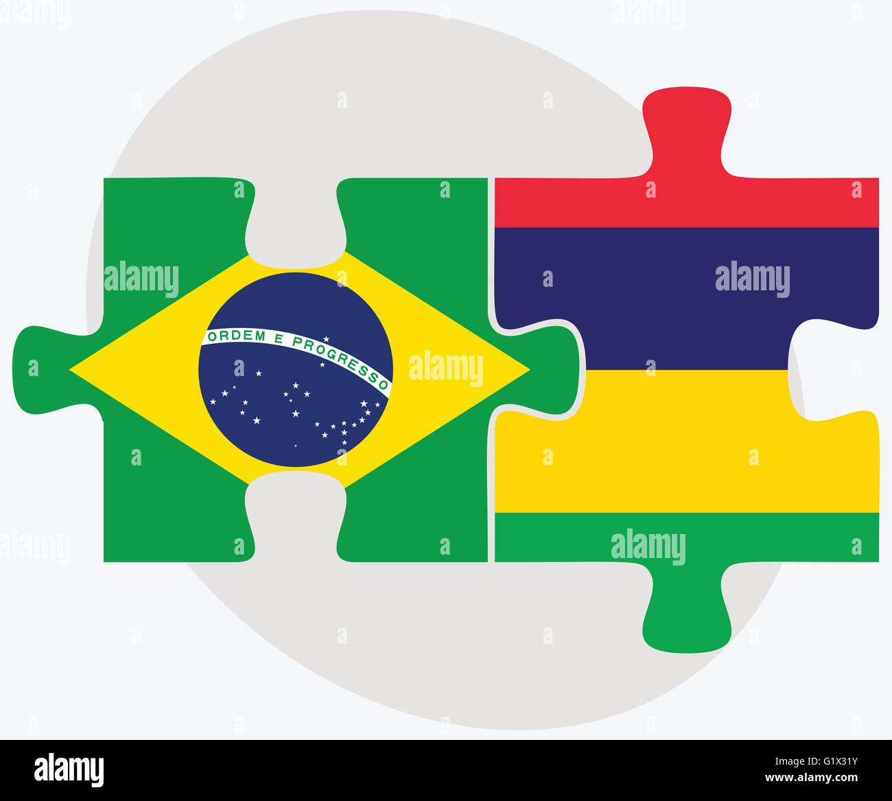 Brazil and Mauritius Flags in puzzle isolated on white background Stock Vector