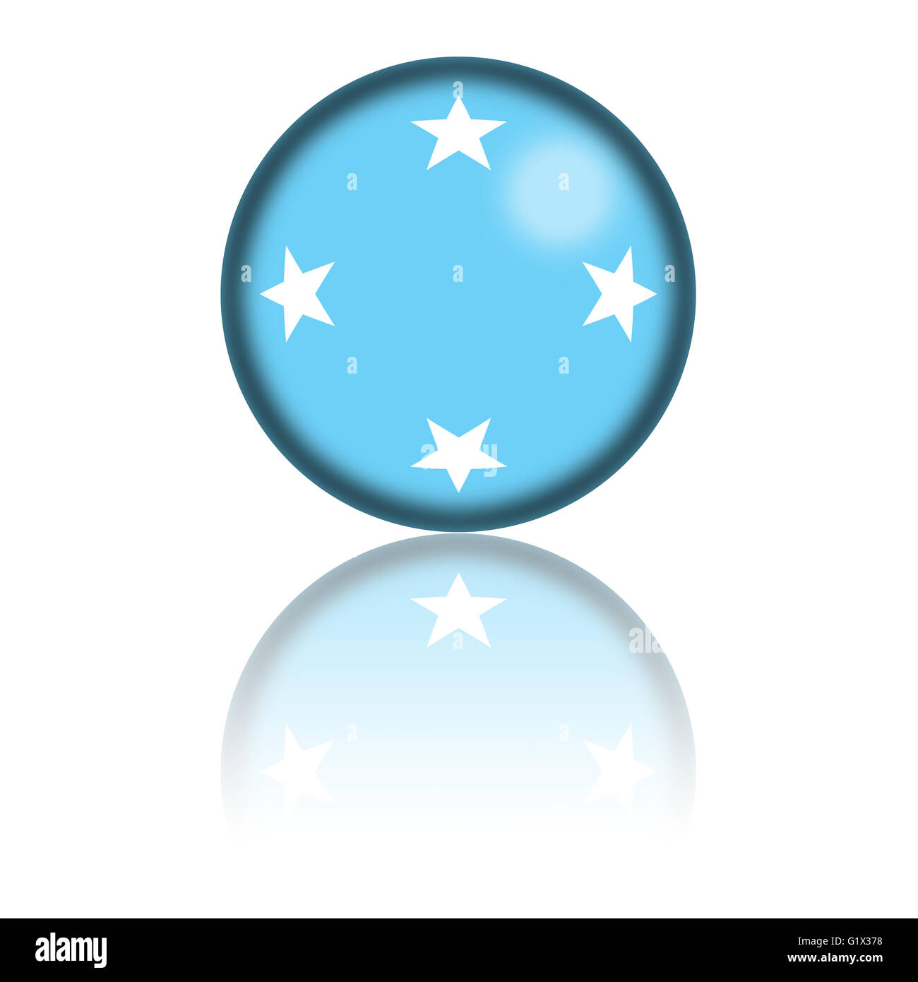Sphere of Micronesia flag with reflection at bottom. - Stock Image
