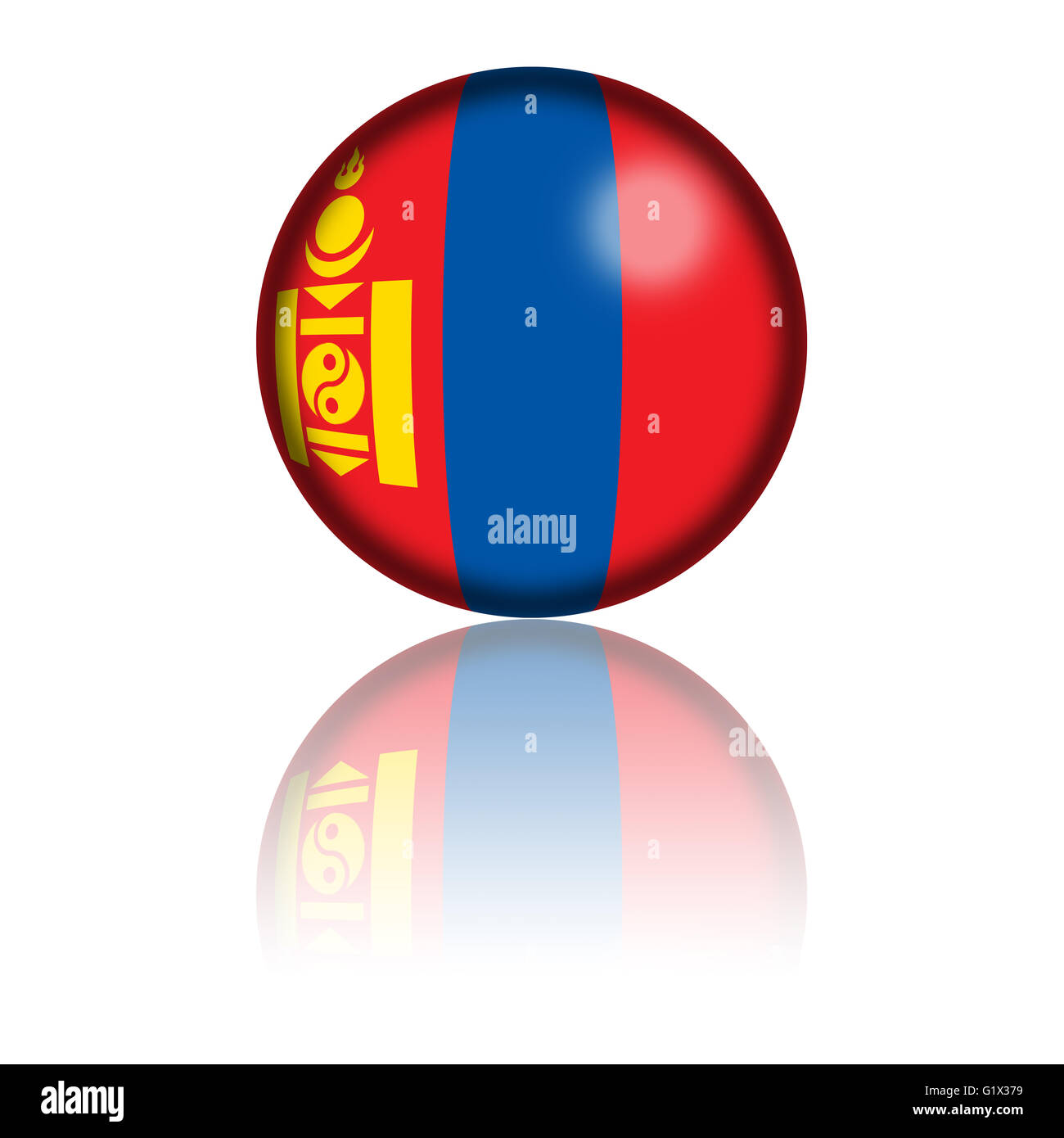 Sphere of Mongolia flag with reflection at bottom. - Stock Image