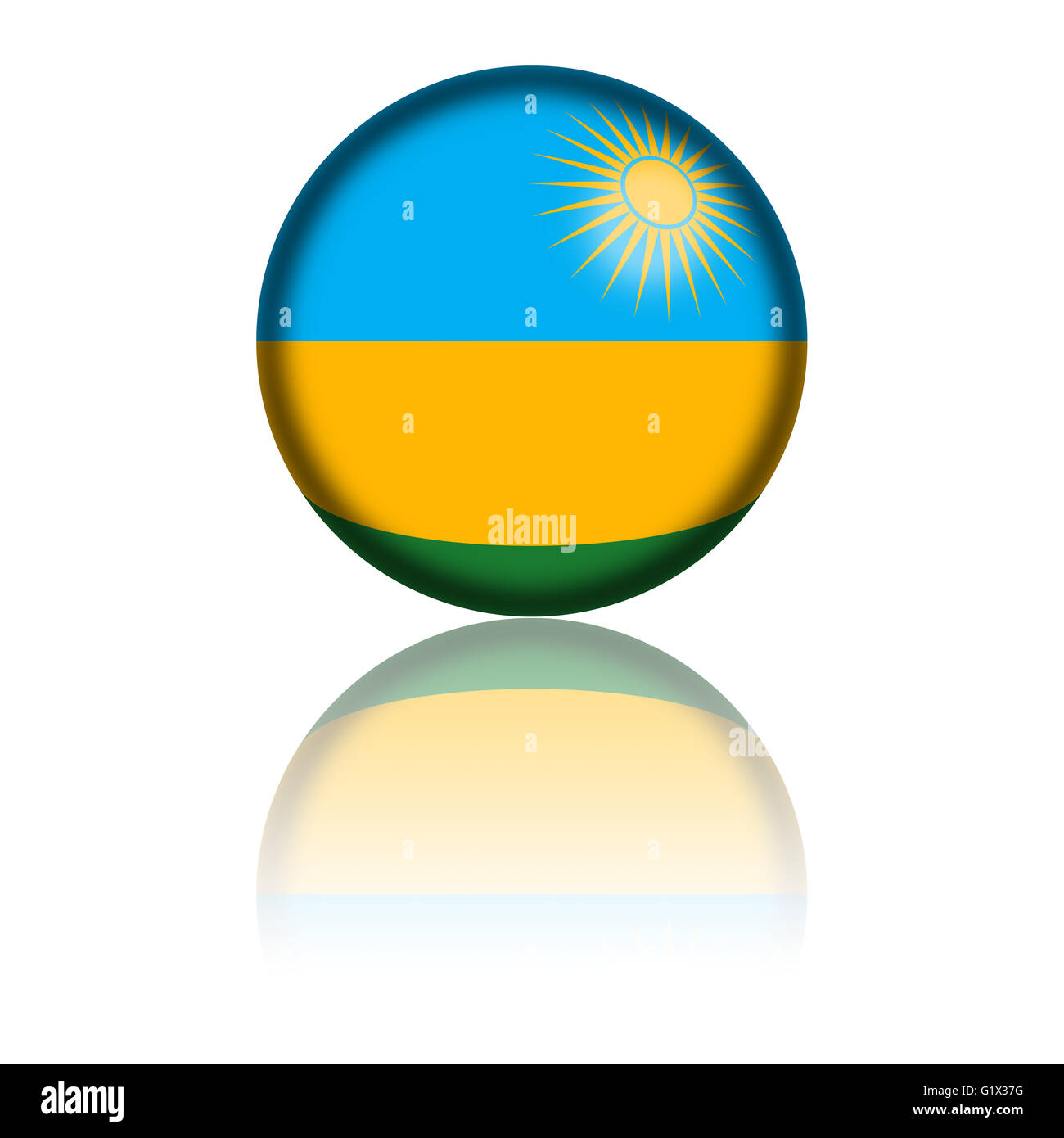 Sphere of Rwanda flag with reflection at bottom. - Stock Image