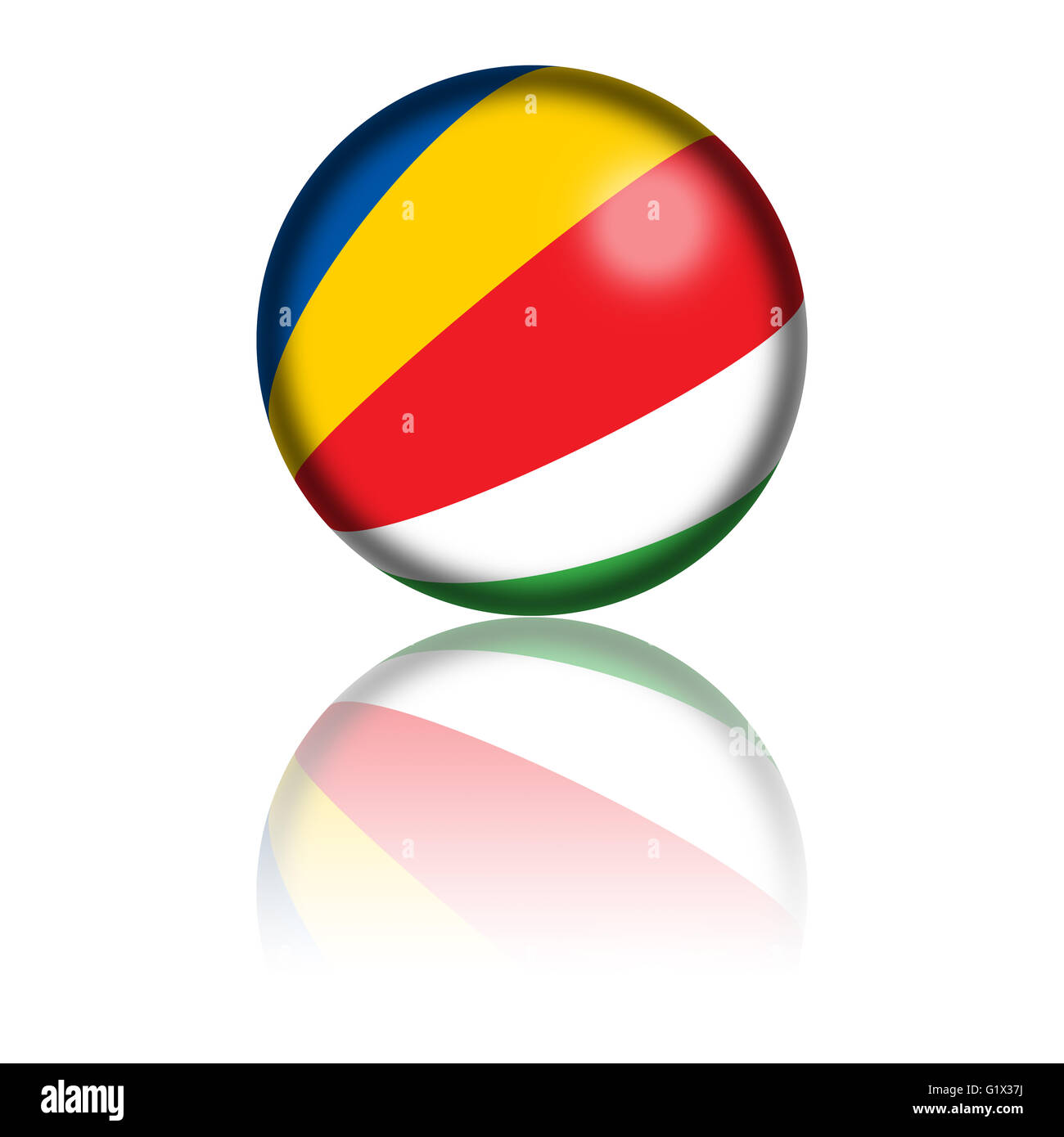 Sphere of Seychelles flag with reflection at bottom. - Stock Image