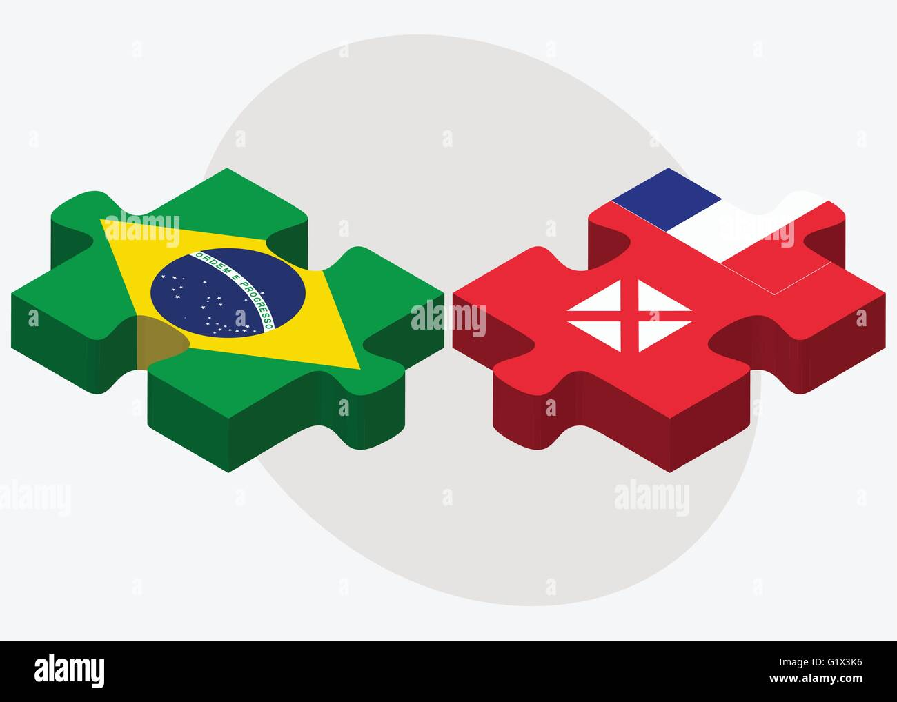 Brazil and Wallis and Futuna Flags in puzzle isolated on white background - Stock Image