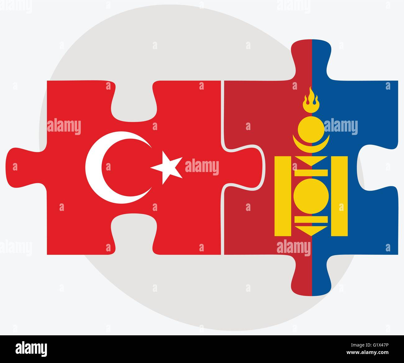 Turkey and Mongolia Flags in puzzle isolated on white background - Stock Vector