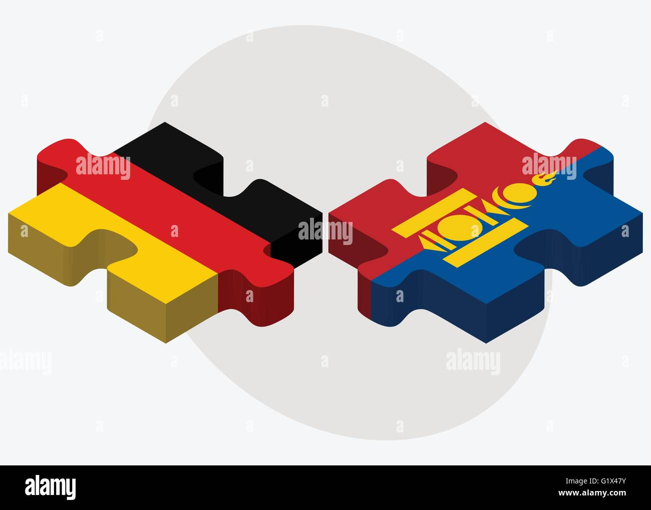Germany and Mongolia Flags in puzzle isolated on white background - Stock Vector