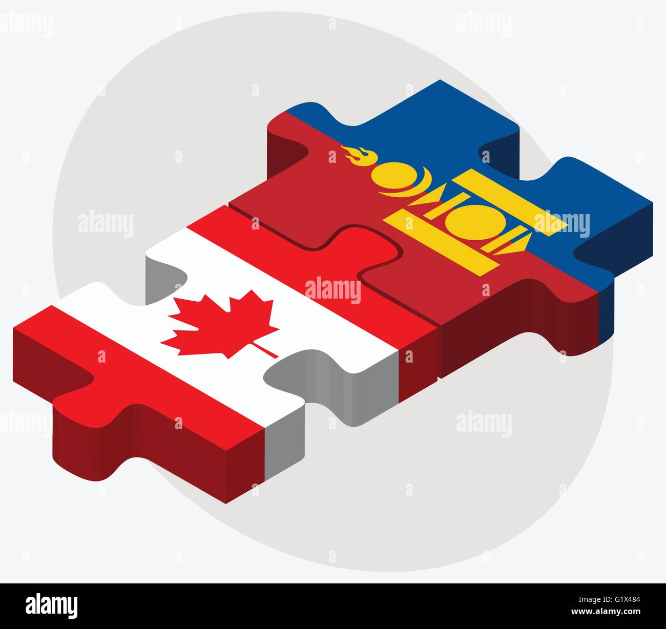 Canada and Mongolia Flags in puzzle isolated on white background - Stock Vector