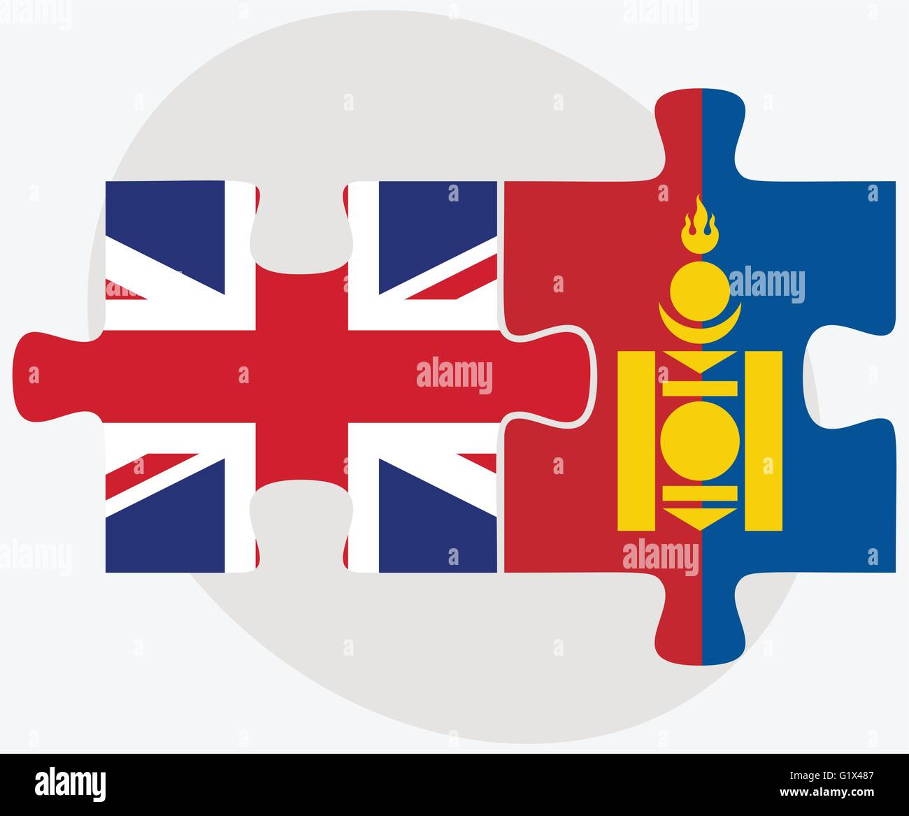 United Kingdom and Mongolia Flags in puzzle isolated on white background - Stock Vector
