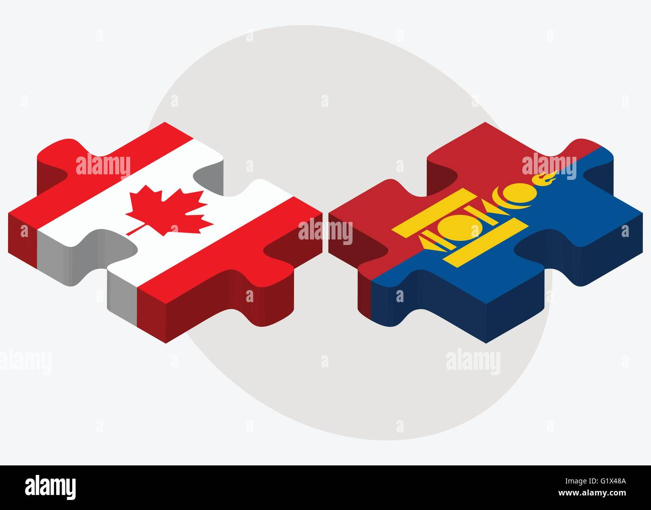 Canada and Mongolia Flags in puzzle isolated on white background Stock Vector