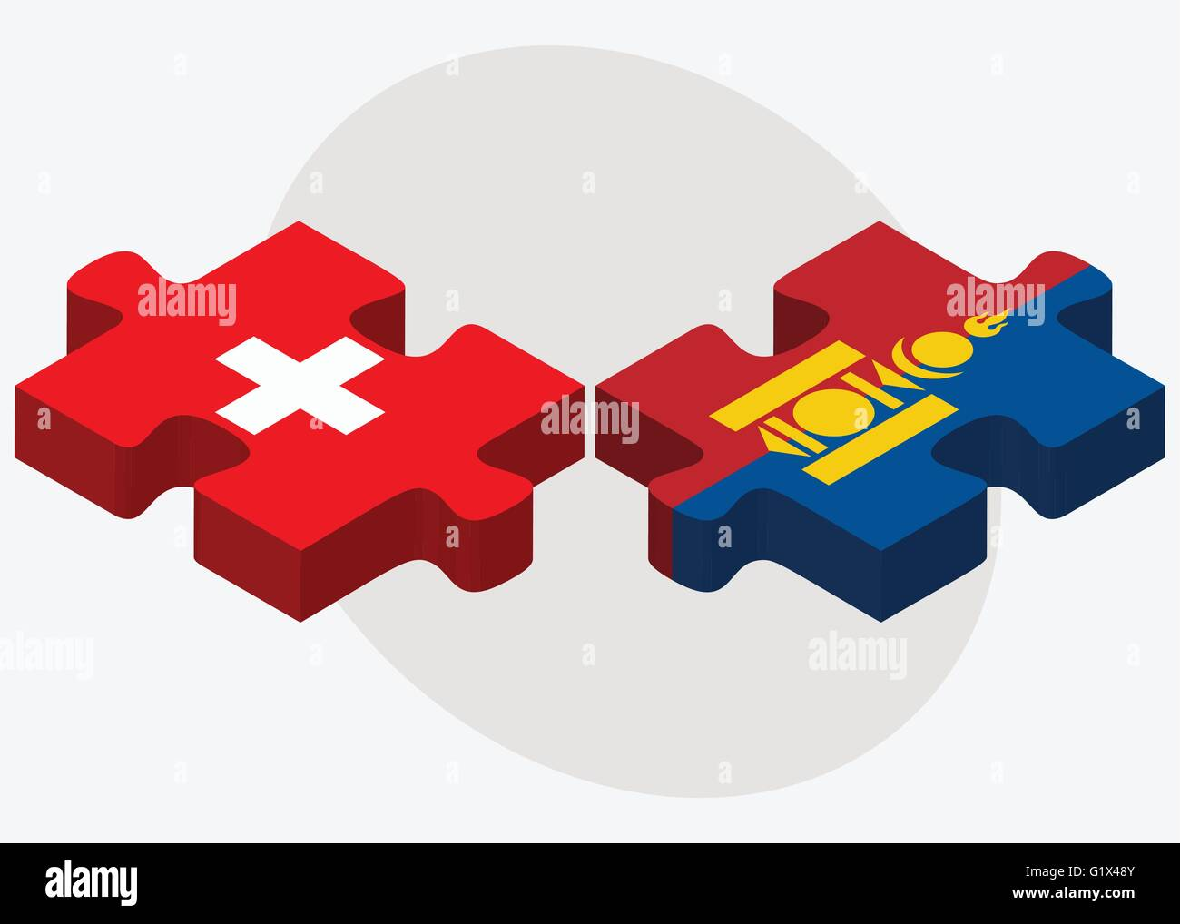 Switzerland and Mongolia Flags in puzzle isolated on white background - Stock Vector