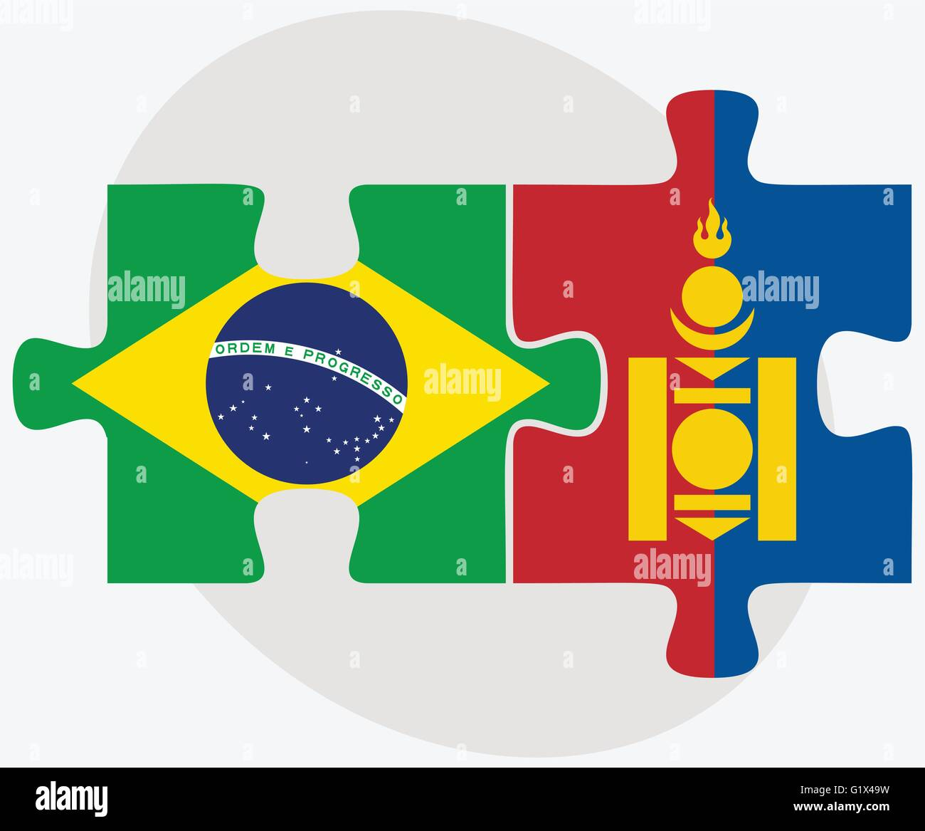 Brazil and Mongolia Flags in puzzle isolated on white background Stock Vector