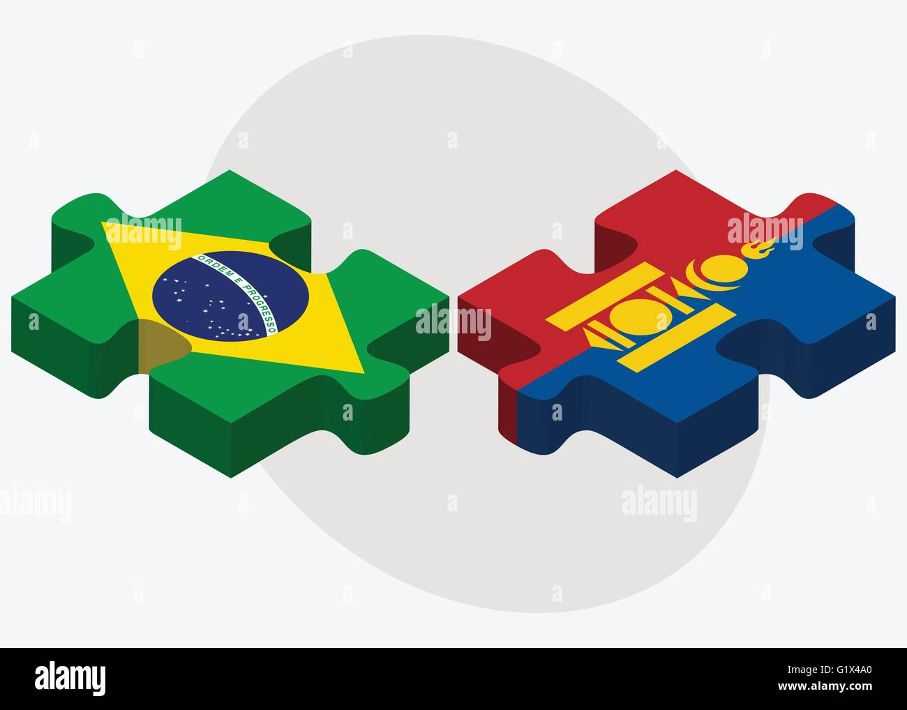 Brazil and Mongolia Flags in puzzle isolated on white background - Stock Vector