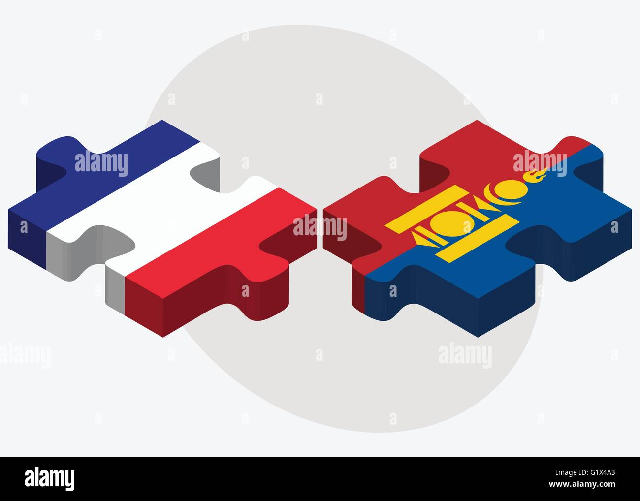 France and Mongolia Flags in puzzle isolated on white background - Stock Vector