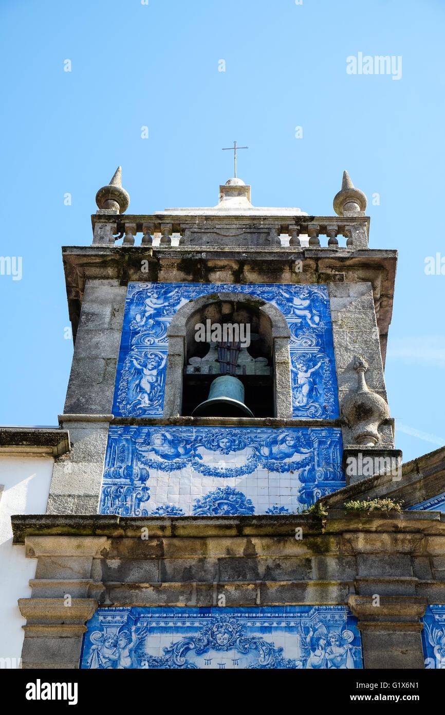 Capela das Almas, belfry with azulejos tiles, Porto, UNESCO World Heritage Site, Portugal - Stock Image