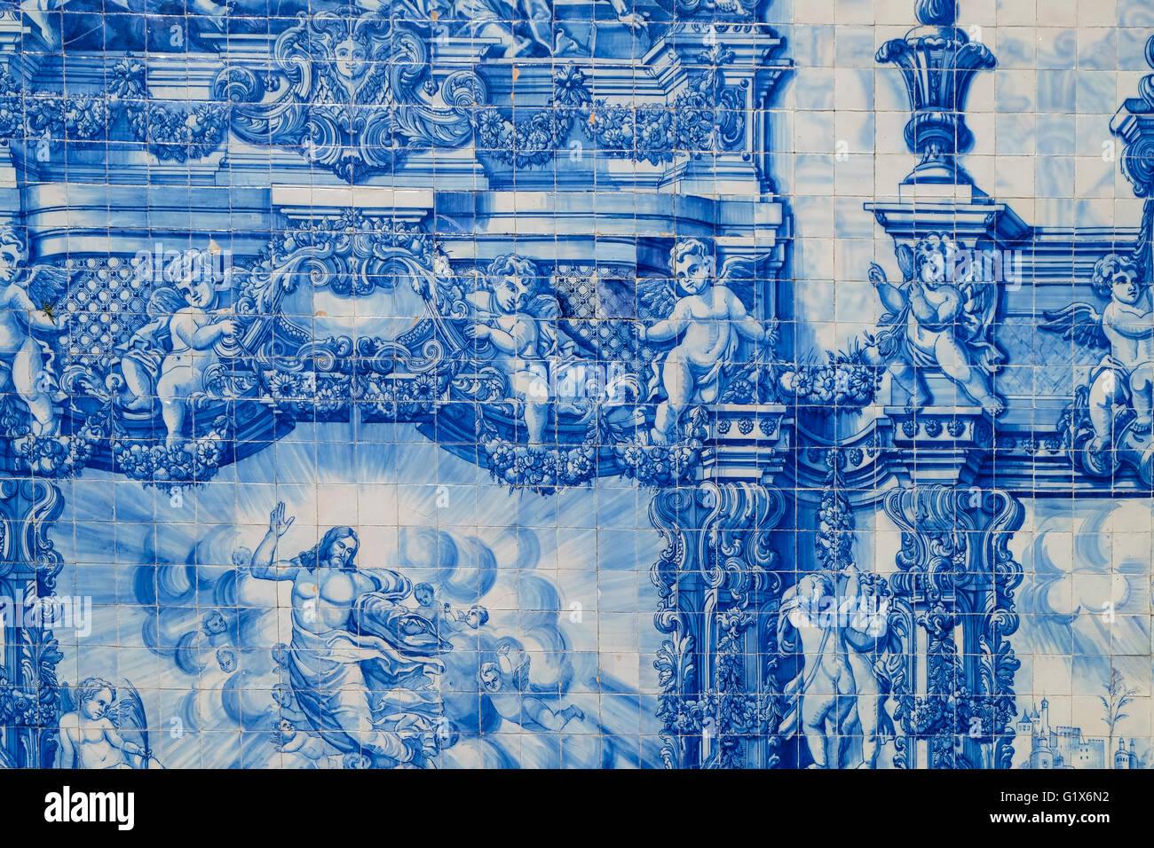 Capela das Almas, outer wall with azulejos tiles, detail, Porto, UNESCO World Heritage Site, Portugal - Stock Image