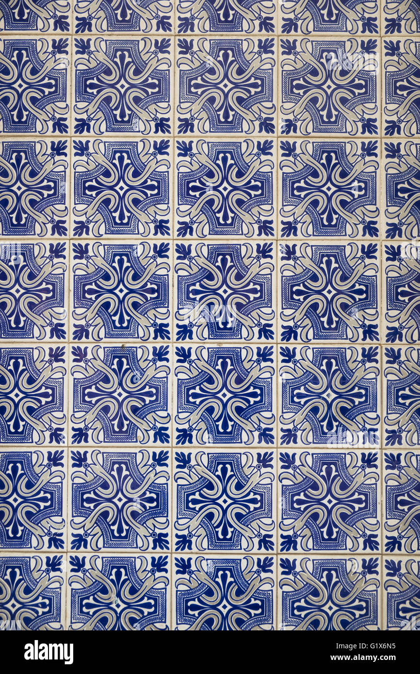 Azulejos tiles on a wall, porcelain tiles, Porto, Portugal - Stock Image
