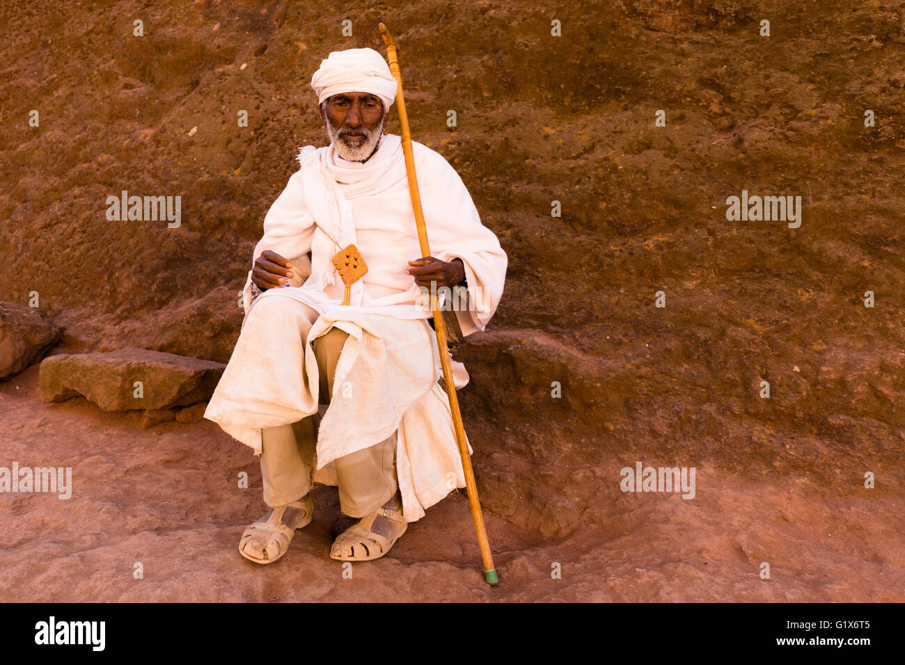 Old Priest, Southern Cluster, Lalibela, Ethiopia, Africa - Stock Image