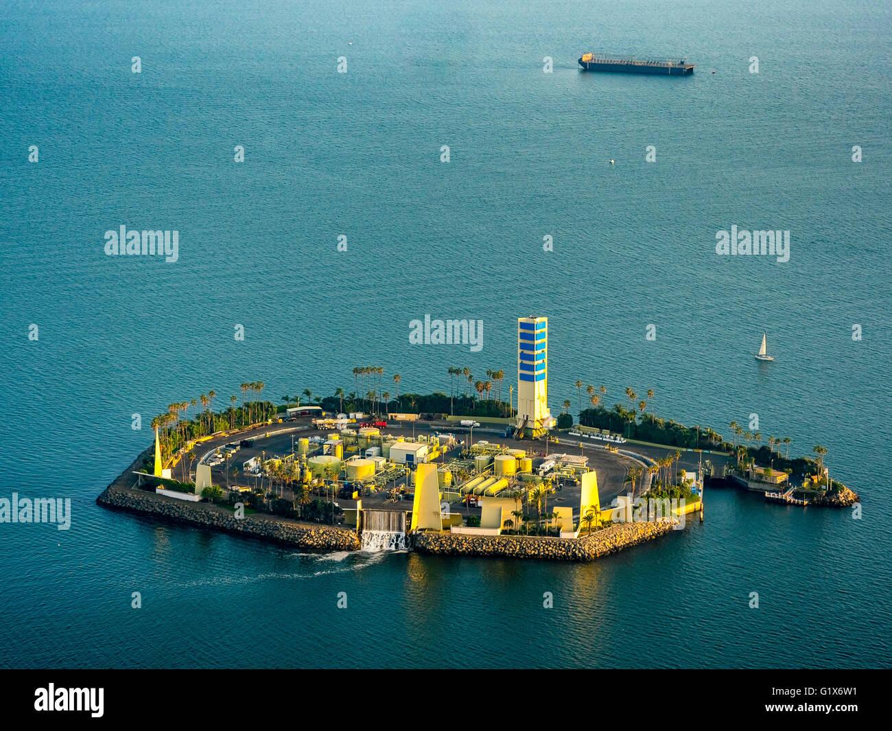 oil island off long beach, white island, thums t-3 island white