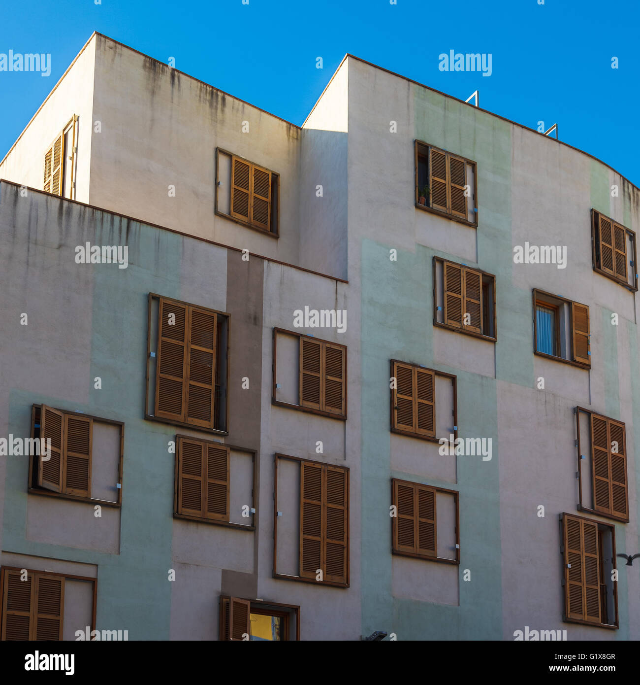 Many Windows on residential building, Barcelona, Spain Stock Photo