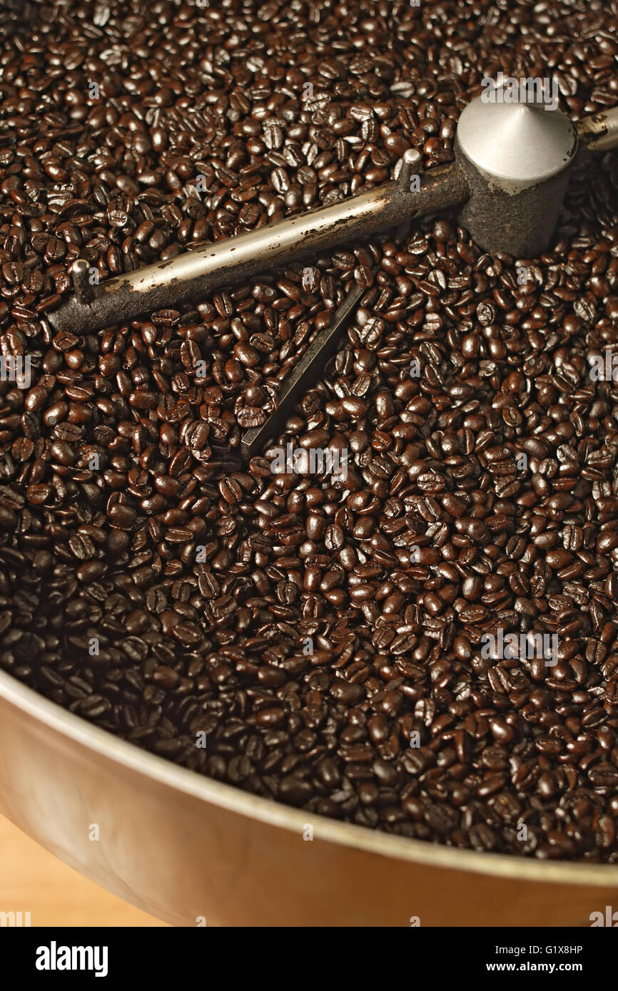 The freshly roasted beans from a large coffee roaster, just before the beans are stirred in the cooling cylinder. Stock Photo