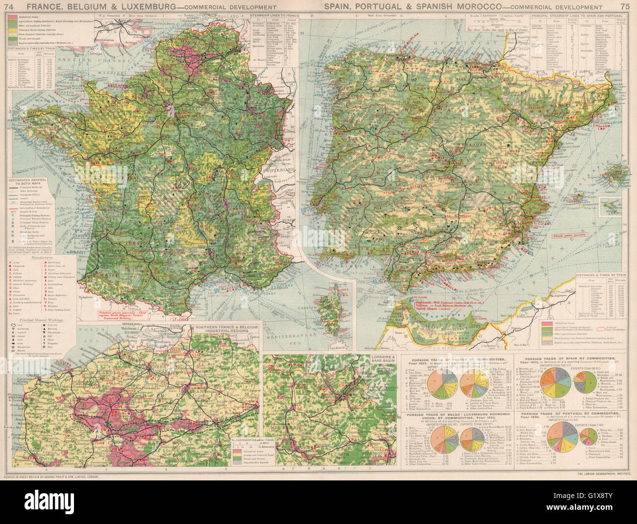 france belgium spain portugal commercial development manufacturing 1925 map stock image
